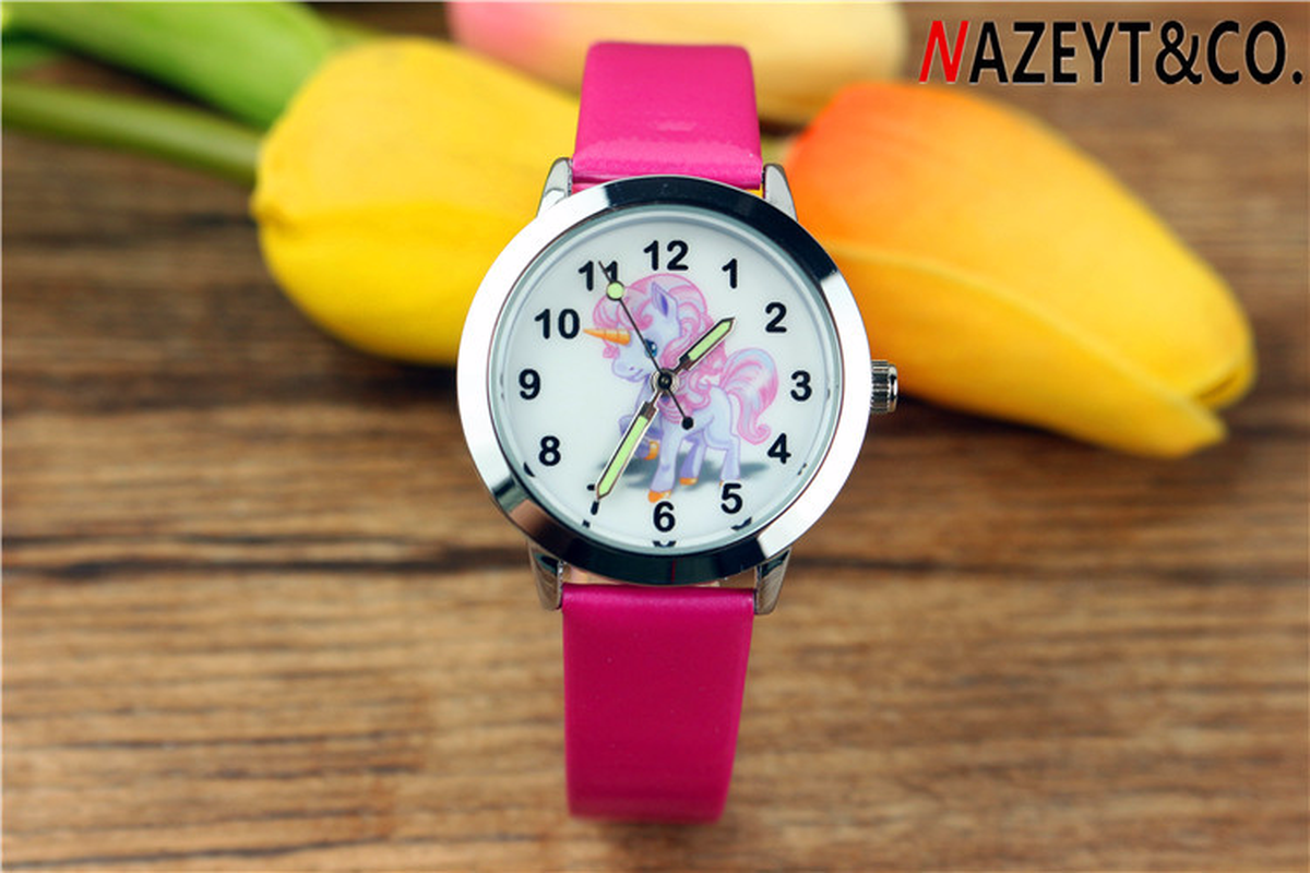 New Girl Cartoon Unicorn Cute Kids Watch Anime With Luminous Wristwatch