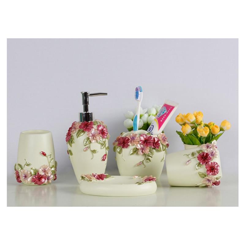 Style campagnard résine 5 pièces ensemble d'accessoires de salle de bain distributeur de savon/porte-brosse à dents/gobelet/porte-savon (vert) - 3