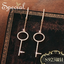Special Europe and the United States s925 silver needle key long ear nail ring decoration of wisdo
