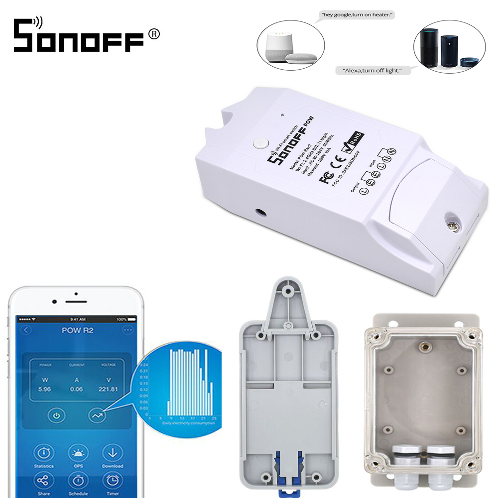 SONOFF POW R2 15A 3500W Wifi Smart Switch Remote Control Power Meter/Comsumption Enery Monitoring Work With Google Home Alexa