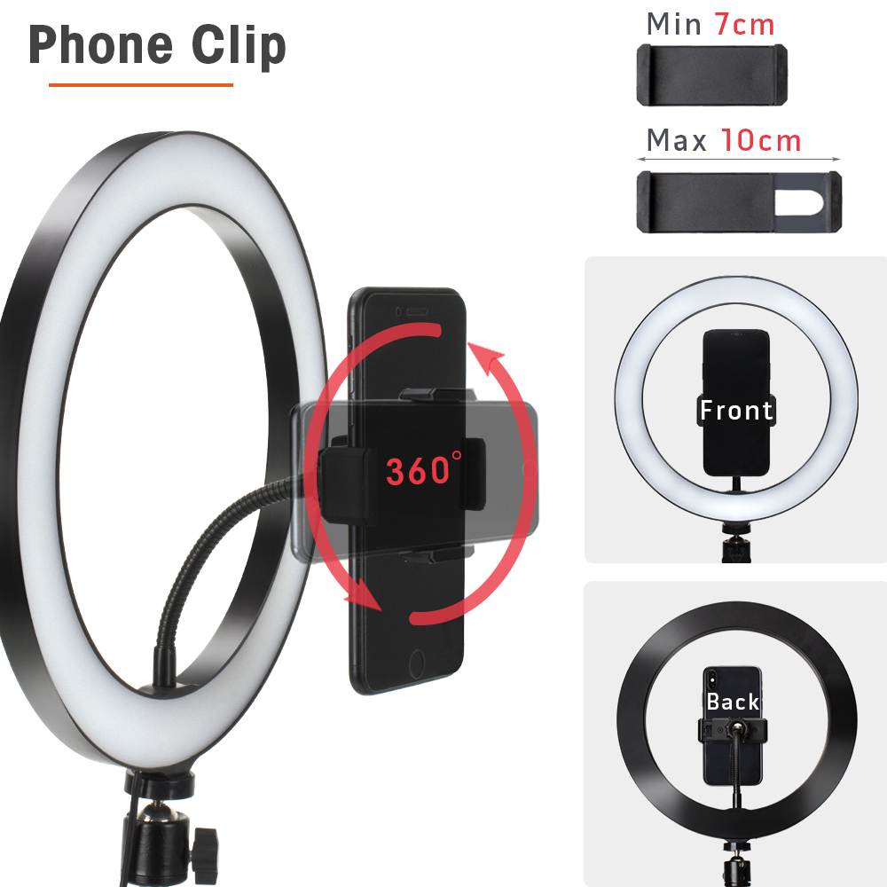 16/26Cm Fotografie Licht Led Selfie Flash Ringlicht Desktop Dimbare Camera Telefoon Ring Lamp Voor Make Video Live foto Studio 4