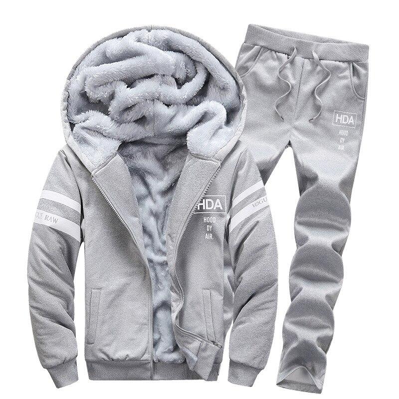 Winter Plus Velvet Men Hoodie Suit Slim Fit Hooded Cardigan Trousers Cardigan Two-Piece Set