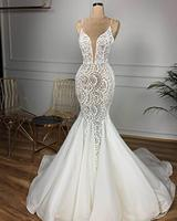 Gorgeous Beaded Lace Mermaid Wedding Dress 2020 Sexy V Neck Backless Ruffles Train Wedding Gowns Vestido De Noiva Free Veil