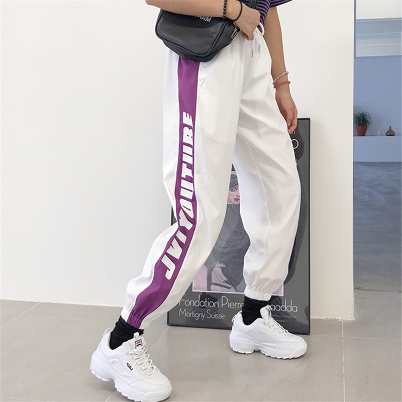 Black White Ribbon Sports Pants Trend Street Dance Hip Hop Pants Women Summer Autumn Thin Korean Style Loose Trousers  Women