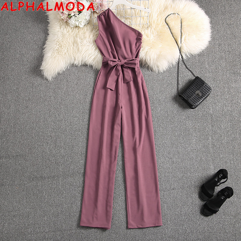 ALPHALMODA Oblique Shoulder Outfit Sashes Solid Color Slim Fit Ladies Elegant Party Jumpsuit Summer Fashion Rompers