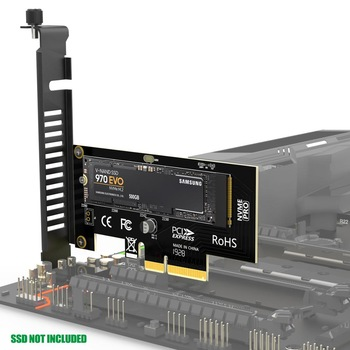 AMPCOM M.2 NVMe SSD Express Card M Key to PCIE 3.0 X4 Adapter External SSD Support 230-2280 Size M.2 FULL SPEED цена 2017