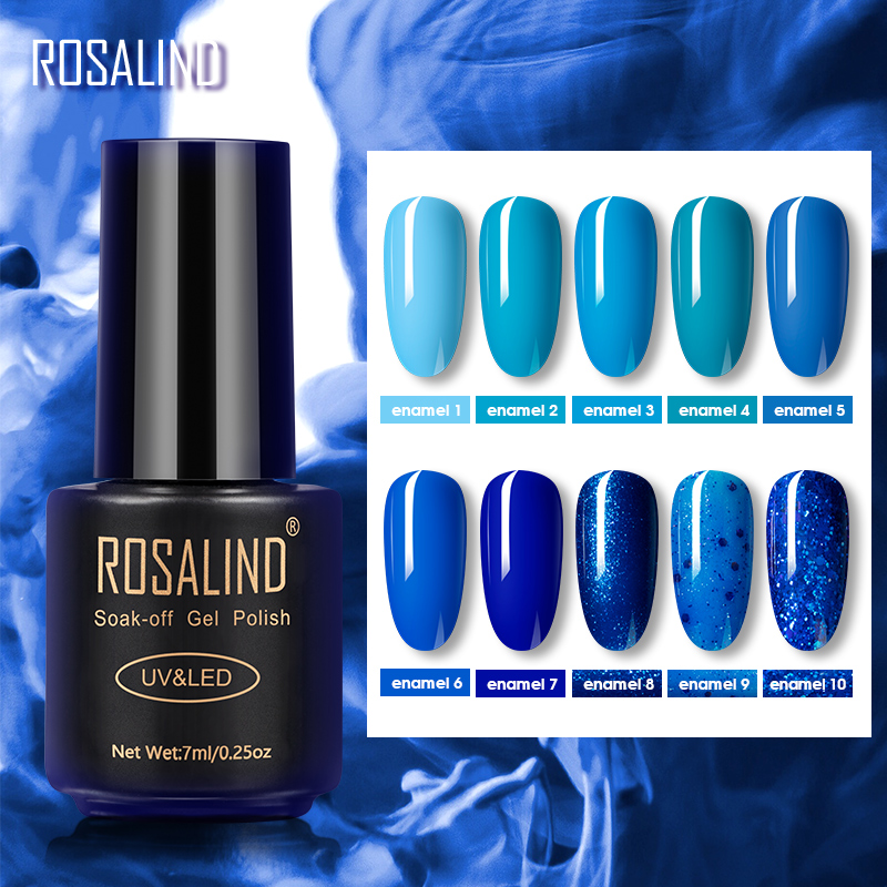 ROSALIND Emaille Blau Farbe Serie Gel Nagellack Nail art Semi Permanent Hybrid Lacke Nail Primer Für Maniküre Basis Top
