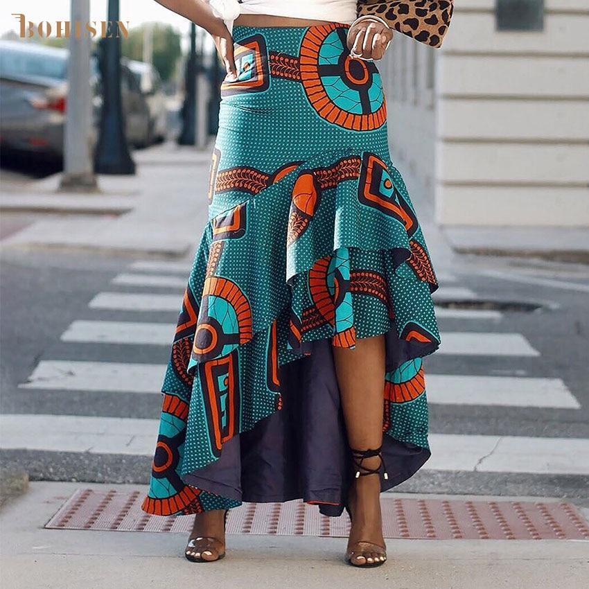 BOHISEN African Clothes For Women Fashion Dashiki Skirts Ankara Dresses African Print Women Skirts Femme Skirts Kanga Clothing