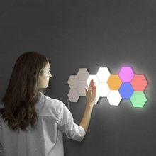 Lámpara de pared decorativa creativa RGB de Audio hexagonal magnética con luz nocturna LED con sensor táctil Modular hexagonal de luz cuántica(China)