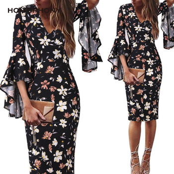Homophony Elegant Dresses for Women Floral Print Long Sleeve Dress Ruffles Flare Sleeve Woman Dress Vintage Knee-Length Party spring autumn women chiffon print dress long sleeve vintage bow collar floral dresses female causal thick ruffles pleated dress