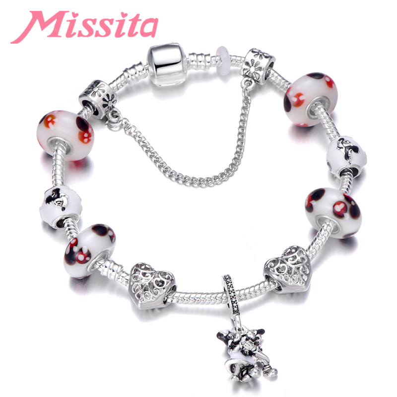MISSITA Cute Mickey Series Bracelets with Lovely Murano Beads Brand Bracelet for Women Anniversary Gift