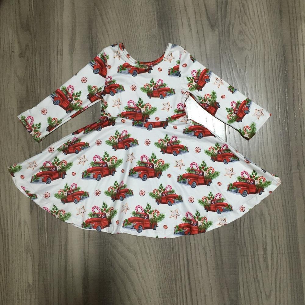 Girlymax Winter Christmas Trucker Baby Girls Cotton Chlidren Clothes Milk Silk Plaid Wine Moose Twirl Dress Knee Length Kidswear 2