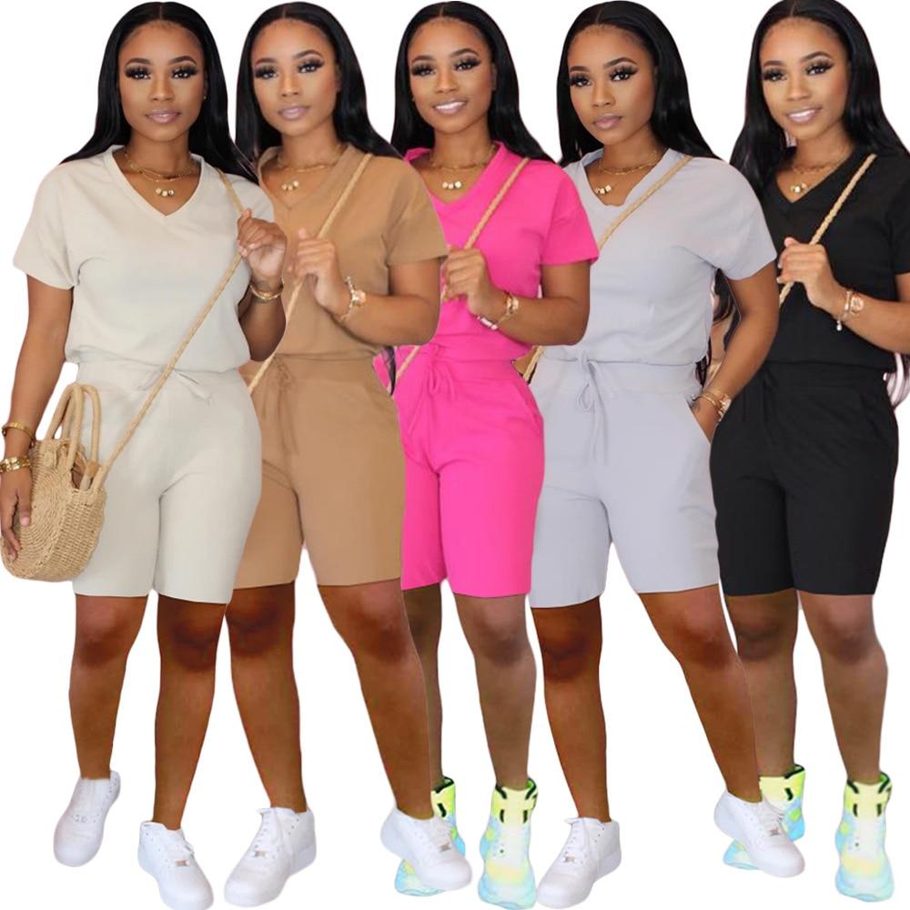 2020 2 Pieces Set Women Sport Suit Top Short Pants Outfit Soft Cotton Material Yoga Sport Set Workout Clothing Tracksuit