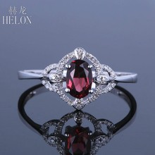 HELON Solid 14K White Gold Flawless Oval Cut 0.6ct Genuine Natural Garnet Real Diamond Gemstone Wedding Trendy Fine Jewelry Ring(China)
