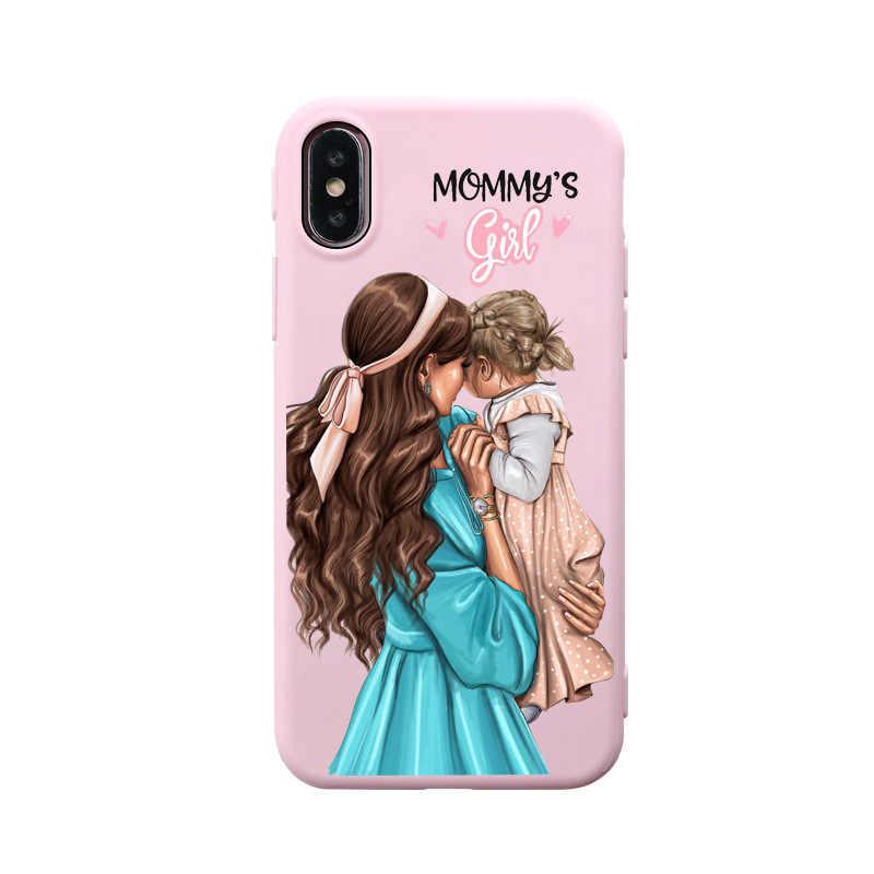 Czarne brązowe włosy drodzy dziecko mama dziewczyna syn królowa 01 silikonowa okładka miękka dla iPhone 7 6 6s 8 Plus 11 pro max X XS XR mamusia różowa skrzynka