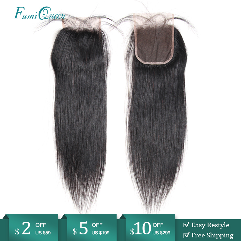 Ali FumiQueen Hair Closure Brazilian Straight Human Hair Closure 10
