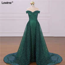 Real Picture Green Middle East Prom Dress Two Pieces Mermaid Glitter Evening Dress Muslim Arabic Party Gowns vestidos de fiesta(China)