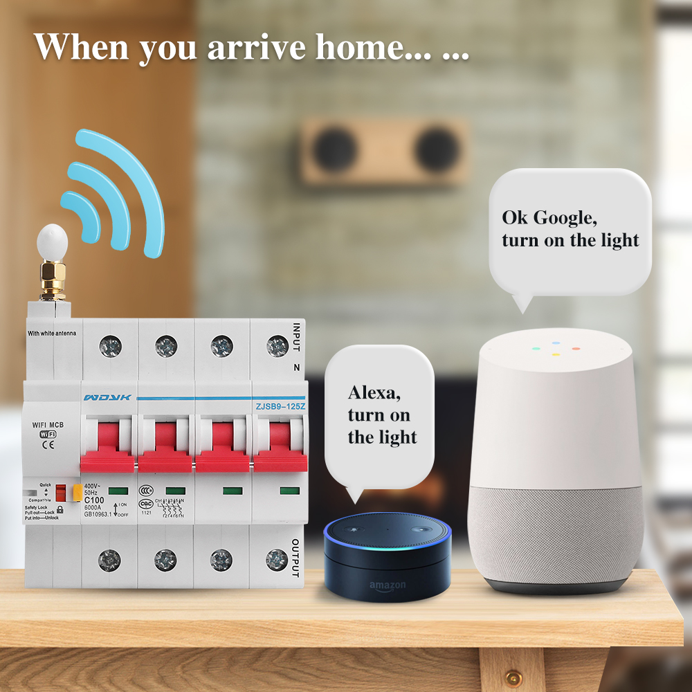 eWelink app 4P WiFi Smart Circuit Breaker overload short circuit protection with  Alexa google home for Smart Home 4