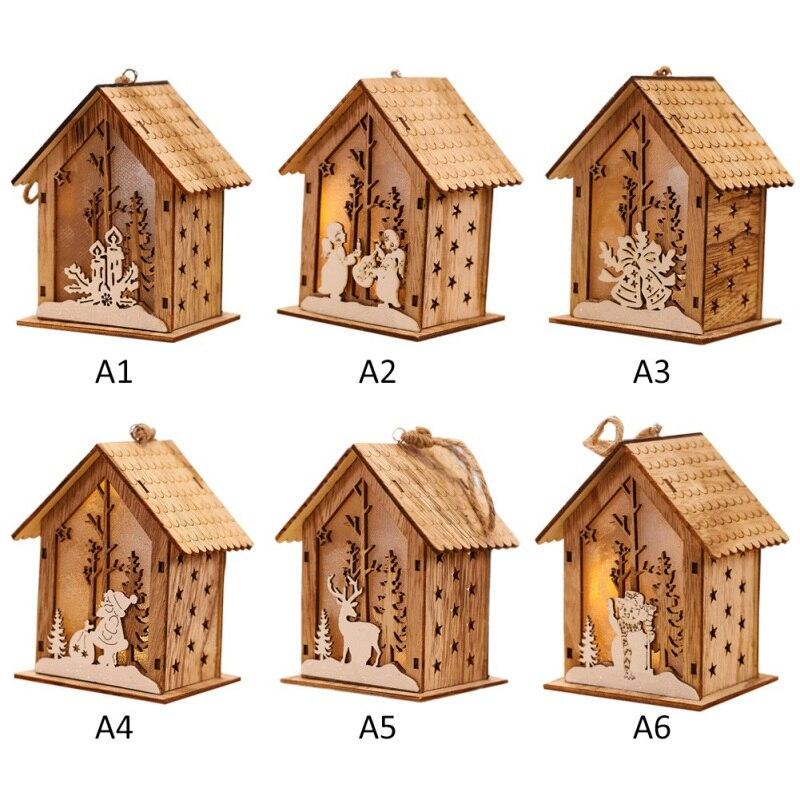 Рождественская Деревянная Рождественская освещенная сборка маленького домика Рождественская елка украшения светящийся домик висячий кулон Декор - 3