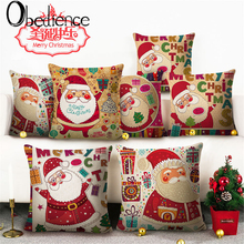 Obedience Santa Claus Fine Printed Flax Pillow Cover Christmas Household Supplies