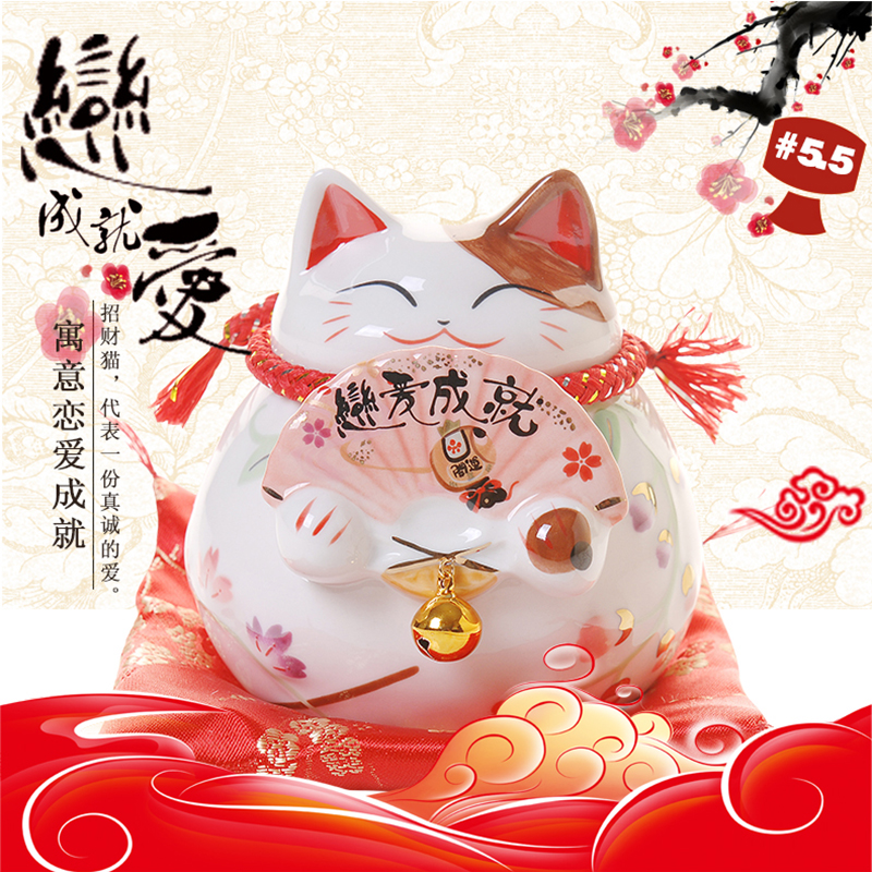 China Lucky Cat Ceramic Love Cat Home Decoration Valentine's Day Piggy Bank Gift Couple Money Box Feng Shui Crafts Gift