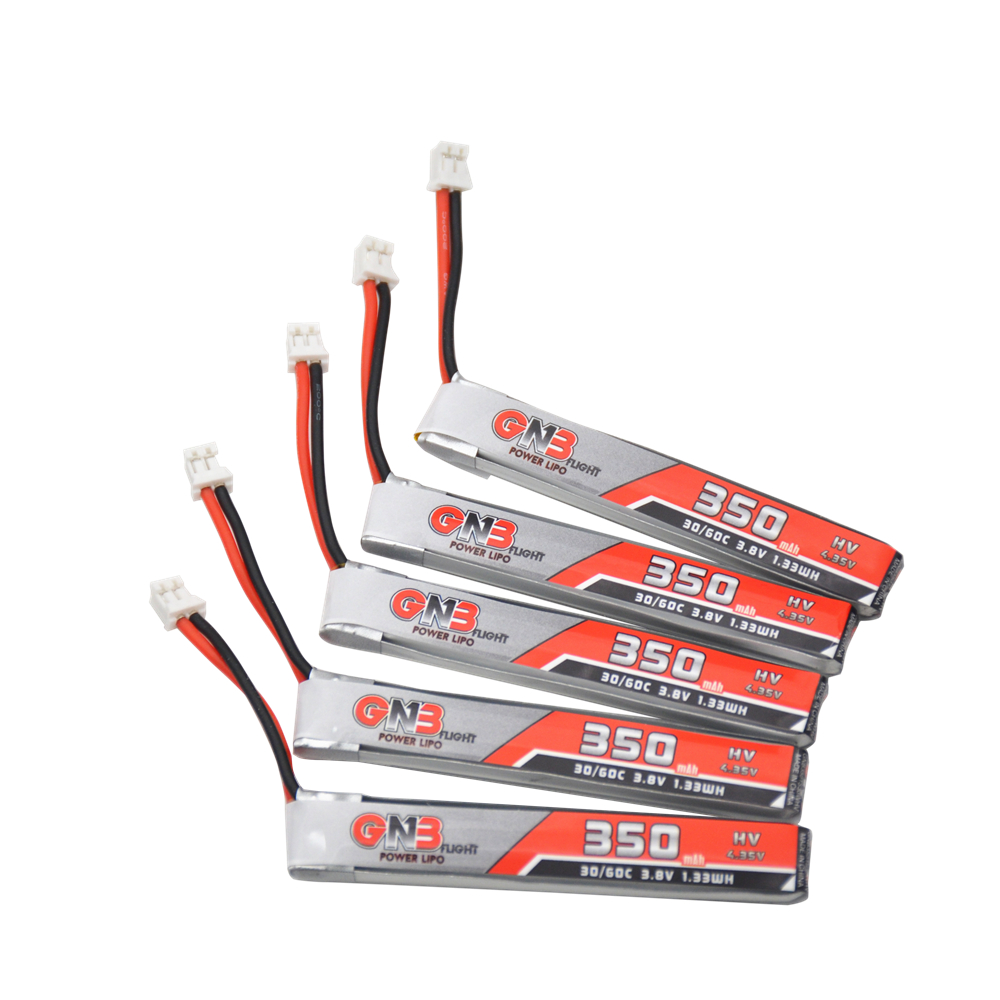 5PCS GAONENG 1S 350mAh 3.8V 30C/60C 4.35V HV Lipo Battery PH2.0 Plug For BetaFPV 65S UK65 Blade Inductrix UR65 Tiny Whoop Drone
