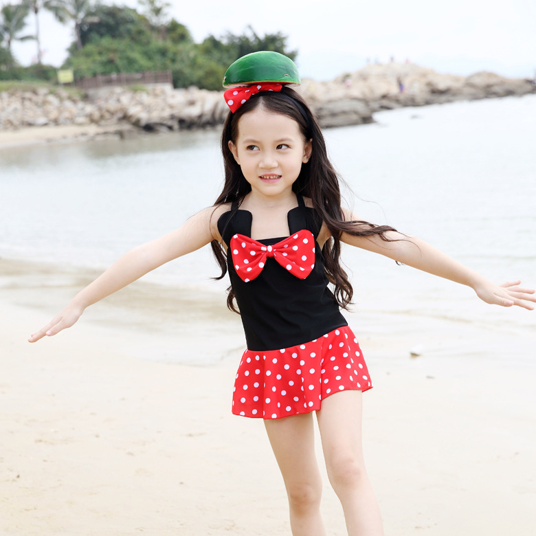 2018 Brand Hot Sales GIRL'S Swimsuit Fashion Polka Dot One-piece Swimsuit For Children Dress Bathing Suit Wholesale