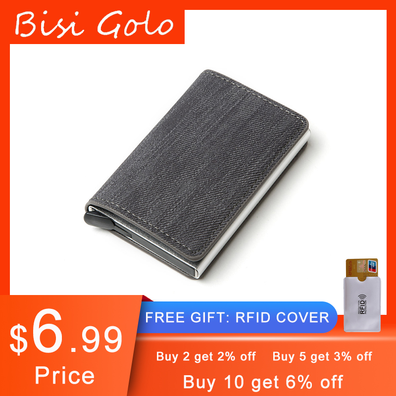 BISI GORO New RFID Blocking Card Holder Anti-theft Clutch Single Box Men Women Wallet 2020 Denim Business Pop-up Metal ID Case