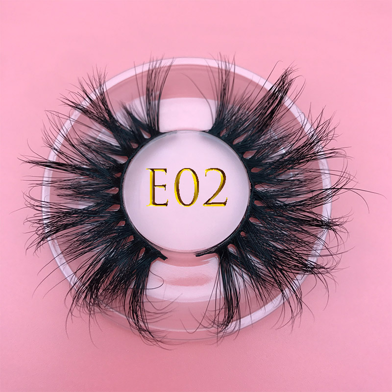 E02 Mikiwi Extra Lengte Fluffy Mink Eyelashes16styles 25mm3D Handmade Real Mink Eyelash Full Strip Thick Dramatic False Eyelash