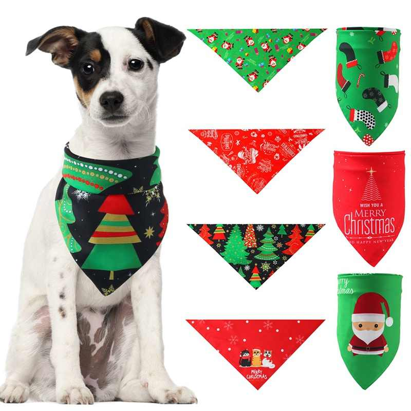 Pet Fashion Grooming Accessories Christmas Dog Bandana Washable Scarf Handkerchiefs Bibs