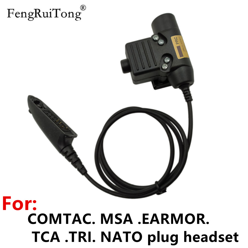 Tactical U94 PTT For COMTAC MSA EARMOR TCA TRI NATO Plug Headset, For Motorola Walkie Talkie GP140 GP320 GP328 GP338 GP340 Radio