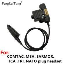 Tactical U94 PTT For COMTAC MSA EARMOR TCA TRI NATO plug headset? for Motorola Walkie Talkie GP140 GP320 GP328 GP338 GP340 Radio