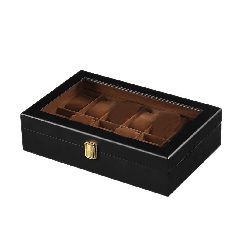 12-Bit Wooden Watch Box Black Watch Storage Box Window Jewelry Box Watch Display Box Jewelry Box Watch Storage Box