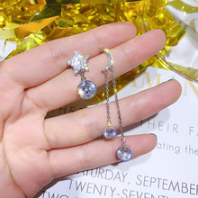 asymmetric long paragraph earrings micro - with the stars in moon female character , personality earring