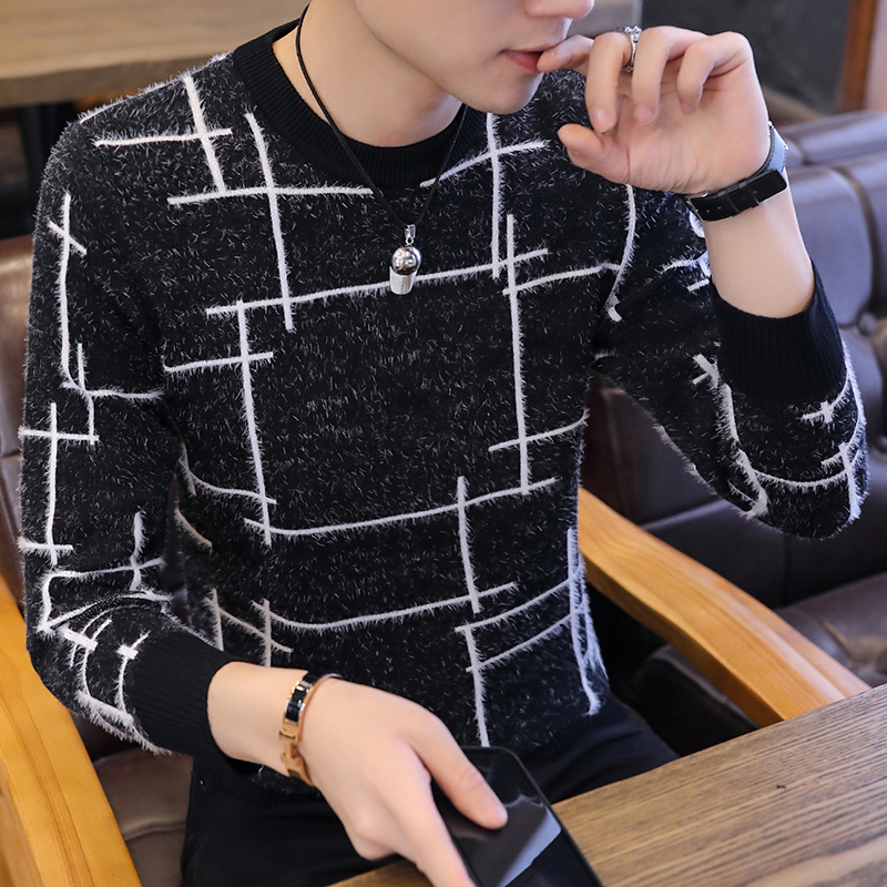Mohair Sweaters Cotton Sweater Men Long Sleeve Pullovers Outwear Man O-Neck Sweaters Tops Loose Solid Fit Knitting Clothing New