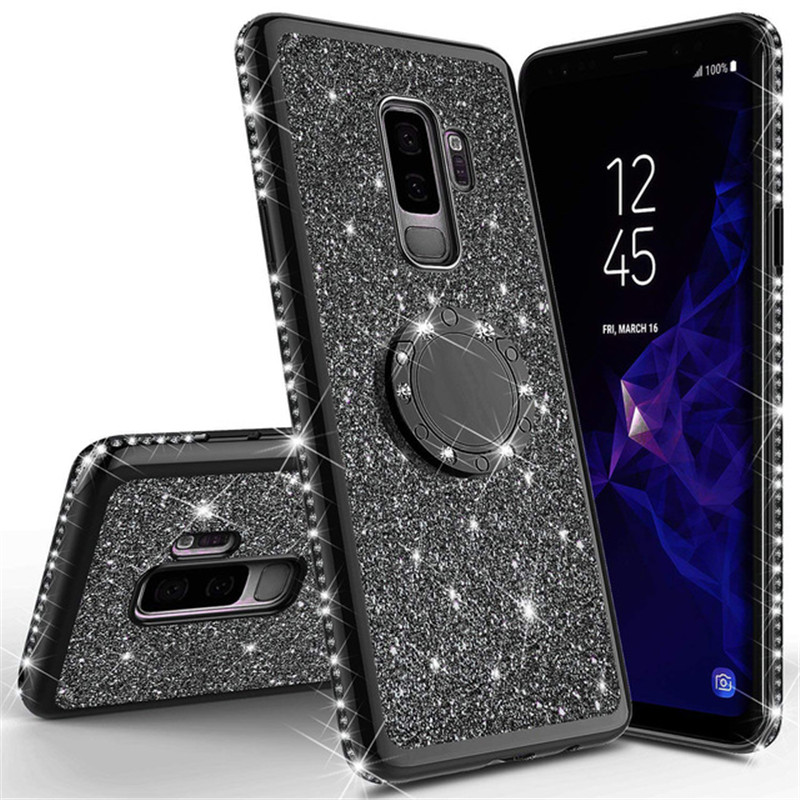 Shining Glitter <font><b>Magnetic</b></font> 360 Finger Ring <font><b>Case</b></font> For Galaxy S10 S10e S8 S9 Plus <font><b>A5</b></font> A7 2018 A6 A8 Note 8 9 Bling Diamond Back Cover image