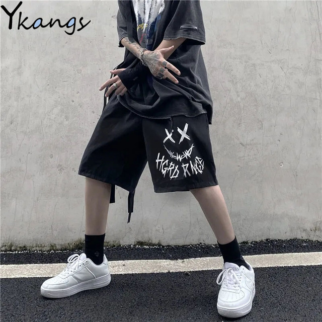 Harajuku Gothic Graffiti Streetwear Black Shorts Casual High Waist Summer Women Shorts Vintage Korean Punk Sport Shorts Female 1