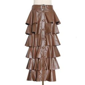 Image 5 - Deuxtwinstyle cuir synthétique polyuréthane noir à volants femmes jupes taille haute boutons Streetwear femme jupe 2020 automne mode nouveaux vêtements