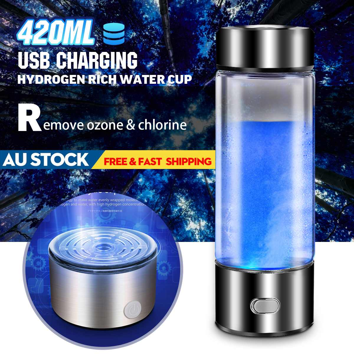 3mins 420ML Portable Water Ionizer Bottle Rechargeable Negative Ion Water Cup Hydrogens rich Water Cup Water Generator Alkaline|Water Filters|   - AliExpress