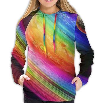 striped asymmetric tunic tee with pockets Fashion Drawstring Sweatshirts with Kangaroo Pockets, Fitted Rainbow Space Hoodies Tunic Top Blouse for Travel, Cycling, Hiking