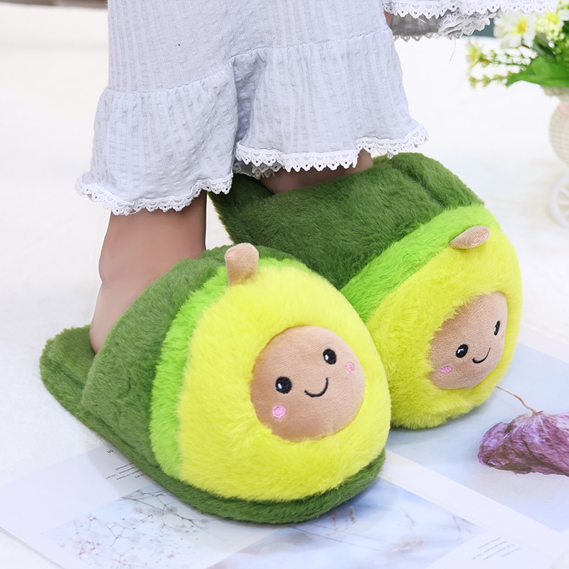 Kawaii Plush Avocado Slippers Stuffed Fruit Toys Cute Avocado Dolls For Girl Plush Food Doll Women Indoor Household Products