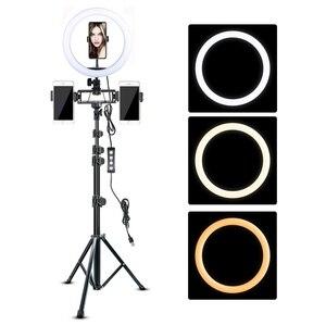 Image 1 - ビデオリングライト 10in 三脚スタンドビデオ電話ホルダー youtube ライブリングライト写真撮影ランプ調光可能な照明
