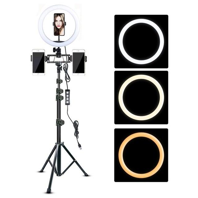 ビデオリングライト 10in 三脚スタンドビデオ電話ホルダー youtube ライブリングライト写真撮影ランプ調光可能な照明