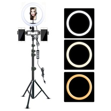 Video Ring Light 10in with Tripod Stand Multi Video Phone Holder for Youtube Live Ringlight Photography Lamp Dimmable Lighting