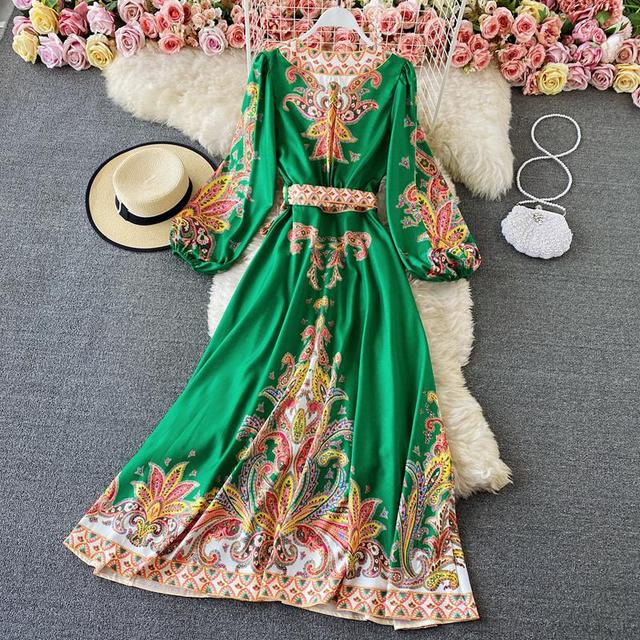 Elegant Dress Court Style Retro Fashion Outwear Printing Bubble Sleeve Temperament Fashion Dress Women V-neck Hit Color Vestidos 3