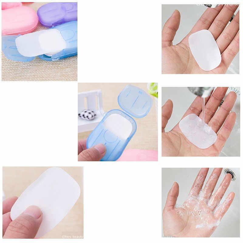 20 piezas Mini papel de jabón portátil para viajes al aire libre desechable para lavar el baño de la mano limpiar hojas de rebanada perfumadas cajas de jabón Blanqueador