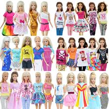 Modne ubrania na co dzień dla Barbie styl casual koszula spódnica spodnie sukienka akcesoria do domku dla lalek 5 szt tanie tanio BJDBUS MATERNITY 25-36m 4-6y 7-12y 12 + y Tkanina CN (pochodzenie) Fit for 11 5 in -12 in (30 cm) doll Dziewczyny Moda