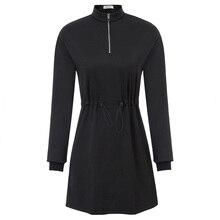 autumn new fashion dress Liumilac Women's Drawstring Waist Dress Long Sleeve Stand Collar  Loose Fit olive green drape collar drawstring waist coat
