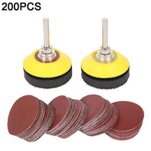 Disques de ponçage pour tampons de 2 pouces, 200 pièces, papier avec tige rotative de 1/4 pouces, pour outil de polissage et de nettoyage