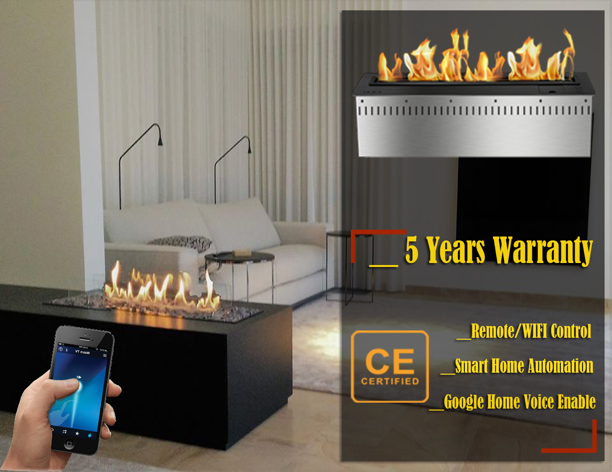 Hot Sale 72 Inches Ethanol Chimney Wifi Remote Control Ethanol Fire Pit Insert